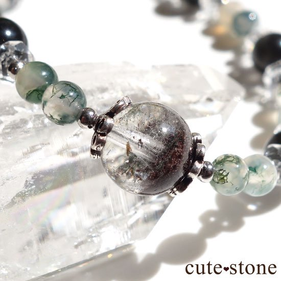 【箱庭の夜】ガーデンクォーツ ブラックスキャポライト モスアゲート 水晶のブレスレットの写真0 cute stone