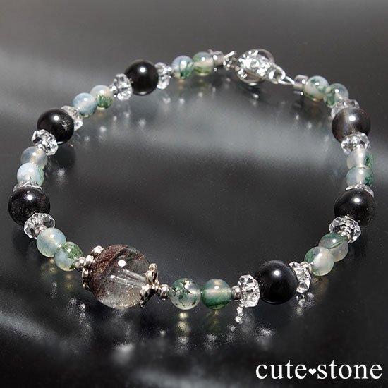 【箱庭の夜】ガーデンクォーツ ブラックスキャポライト モスアゲート 水晶のブレスレットの写真2 cute stone