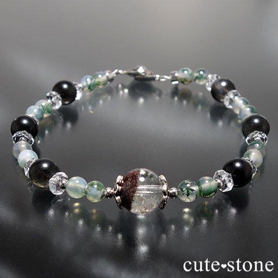 【箱庭の夜】ガーデンクォーツ ブラックスキャポライト モスアゲート 水晶のブレスレットの写真3 cute stone