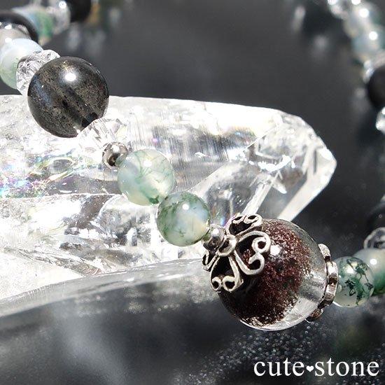 【箱庭の夜】ガーデンクォーツ ブラックスキャポライト モスアゲート 水晶のブレスレットの写真4 cute stone