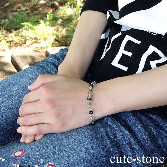 【箱庭の夜】ガーデンクォーツ ブラックスキャポライト モスアゲート 水晶のブレスレットの写真6 cute stone