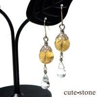 【黄金色の雫】シトリン 水晶のピアス イヤリングの画像