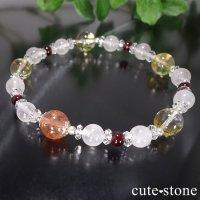 【太陽のプリンセス】サンストーン ガーネット シトリン ローズクォーツ 水晶のブレスレットの画像
