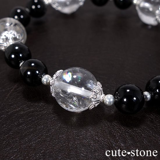 【虹色の星空】ヒマラヤ産アイリスクォーツ ブラックスターダイオプサイトのブレスレットの写真0 cute stone