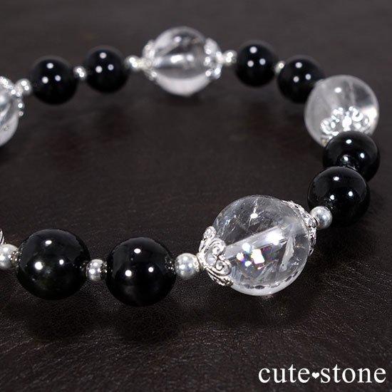 【虹色の星空】ヒマラヤ産アイリスクォーツ ブラックスターダイオプサイトのブレスレットの写真1 cute stone
