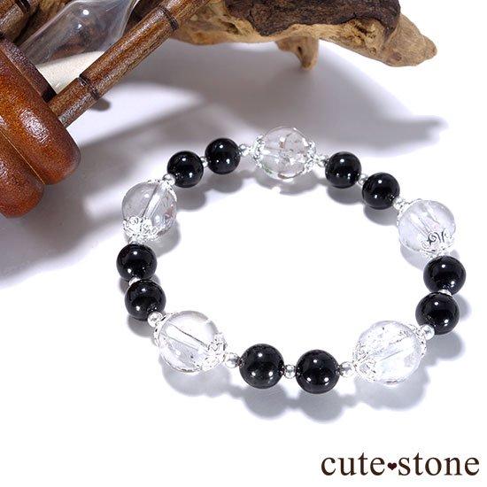 【虹色の星空】ヒマラヤ産アイリスクォーツ ブラックスターダイオプサイトのブレスレットの写真6 cute stone