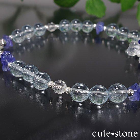 【氷の花】タンザナイト ブルートパーズ レインボームーンストーン ラピスラズリのブレスレットの写真0 cute stone