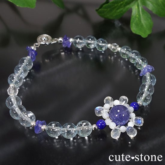【氷の花】タンザナイト ブルートパーズ レインボームーンストーン ラピスラズリのブレスレットの写真4 cute stone
