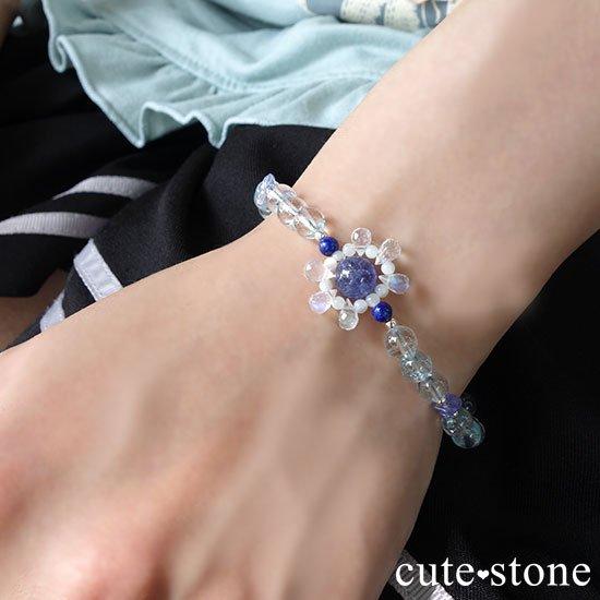 【氷の花】タンザナイト ブルートパーズ レインボームーンストーン ラピスラズリのブレスレットの写真7 cute stone