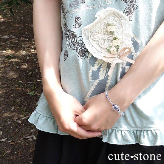 【氷の花】タンザナイト ブルートパーズ レインボームーンストーン ラピスラズリのブレスレットの写真8 cute stone