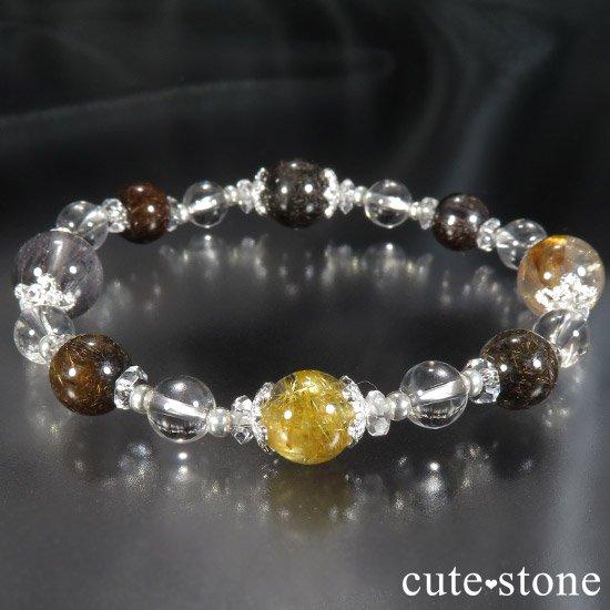 【Mix rutile festival】ゴールドルチル プラチナクォーツ ブラックルチル ブラウンルチル オレンジゴールドルチルのブレスレットの写真6 cute stone