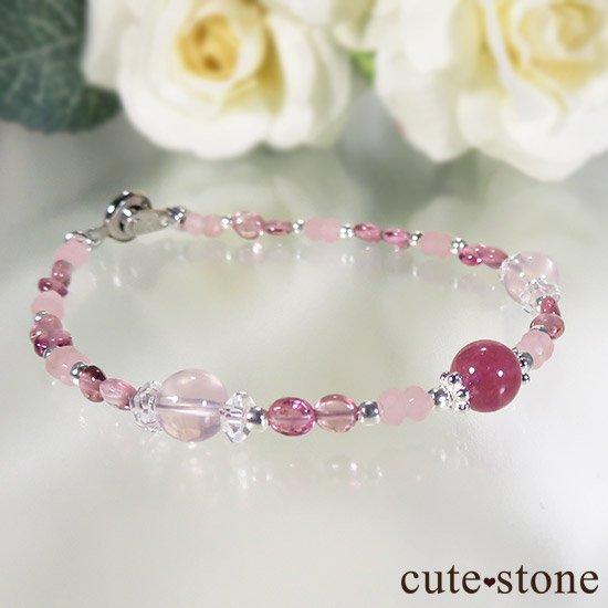 【MAX lovely】ピンクトルマリン スターローズクォーツ グァバクォーツのブレスレットの写真2 cute stone