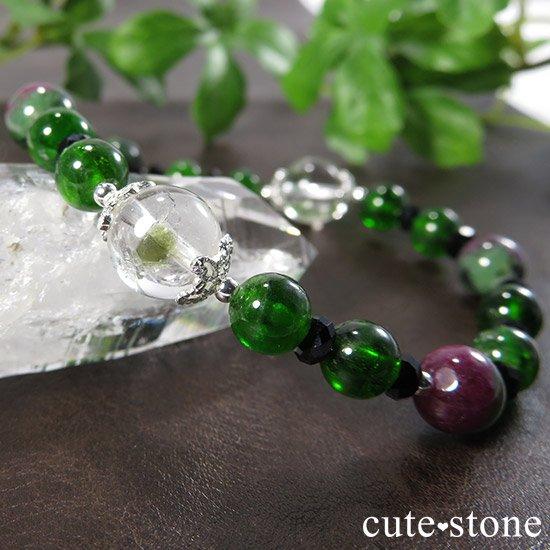 【Green Crystal】 フックサイトインクォーツ クロムダイオプサイト ルビーインゾイサイト ブラックスピネルのブレスレット