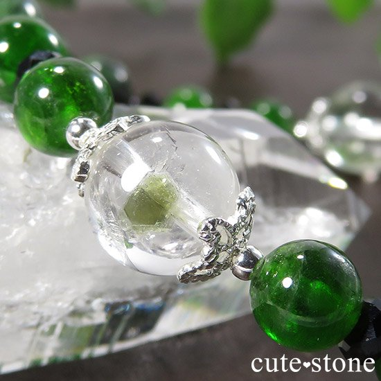 【Green Crystal】 フックサイトインクォーツ クロムダイオプサイト ルビーインゾイサイト ブラックスピネルのブレスレットの写真0 cute stone