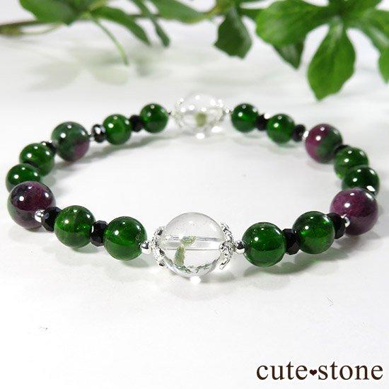 【Green Crystal】 フックサイトインクォーツ クロムダイオプサイト ルビーインゾイサイト ブラックスピネルのブレスレットの写真4 cute stone