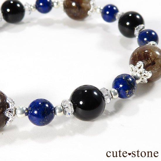 【AZZURRO E MARRONE】 ブラウンルチル ラピスラズリ モリオン 水晶のブレスレットの写真2 cute stone