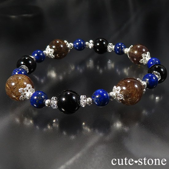 【AZZURRO E MARRONE】 ブラウンルチル ラピスラズリ モリオン 水晶のブレスレットの写真6 cute stone