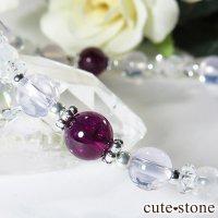 【神秘の紫】 ロードライトガーネット スコロライト レインボームーンストーンのブレスレットの画像