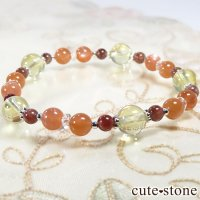 【Honey Citrus】 レモンクォーツ レッドスキャポライト オレンジームーンストーン 水晶のブレスレットの画像