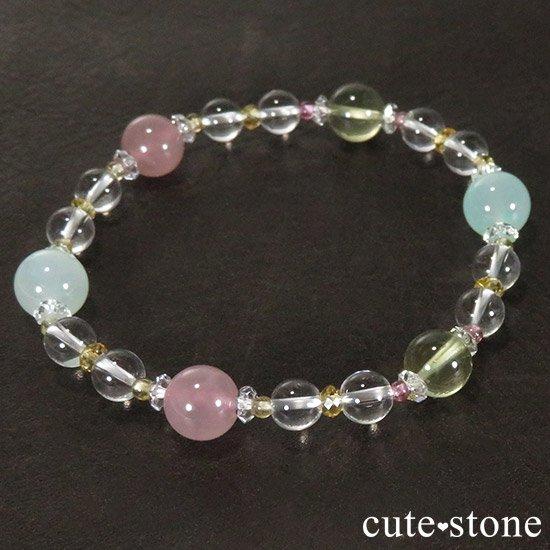 【FLOWER】 クリソプレーズ レモンクォーツ ディープローズクォーツ トルマリン シトリンのブレスレットの写真1 cute stone