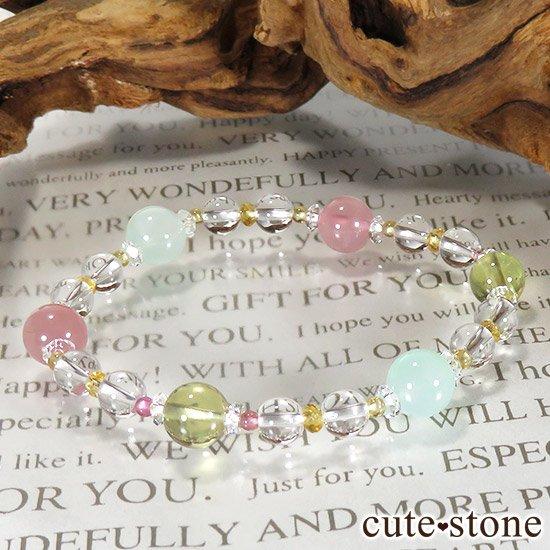 【FLOWER】 クリソプレーズ レモンクォーツ ディープローズクォーツ トルマリン シトリンのブレスレットの写真3 cute stone