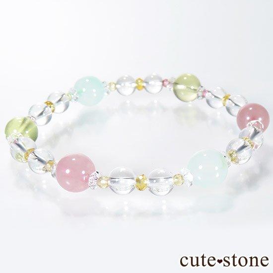 【FLOWER】 クリソプレーズ レモンクォーツ ディープローズクォーツ トルマリン シトリンのブレスレットの写真4 cute stone