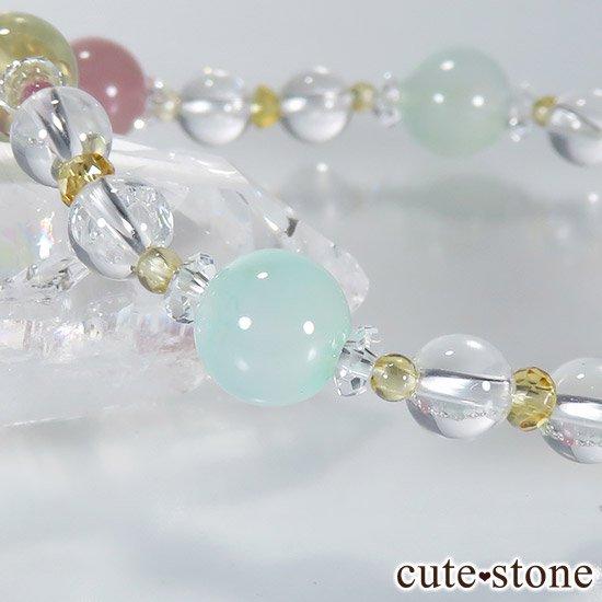 【FLOWER】 クリソプレーズ レモンクォーツ ディープローズクォーツ トルマリン シトリンのブレスレットの写真5 cute stone