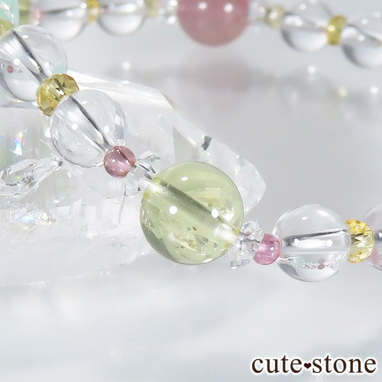 【FLOWER】 クリソプレーズ レモンクォーツ ディープローズクォーツ トルマリン シトリンのブレスレットの写真7 cute stone