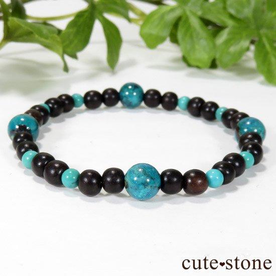 【Tropical】 クリソコラ ターコイズ エボニーのブレスレットの写真0 cute stone