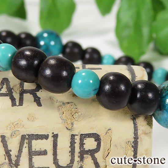 【Tropical】 クリソコラ ターコイズ エボニーのブレスレットの写真2 cute stone