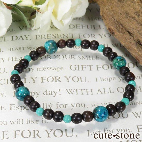 【Tropical】 クリソコラ ターコイズ エボニーのブレスレットの写真4 cute stone