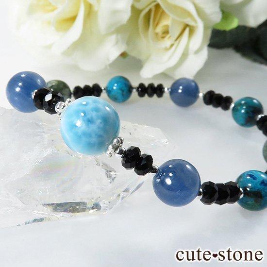 【静かな夜の海】 ラリマー カイヤナイト クリソコラ セラフィナイト ブラックスピネルのブレスレットの写真1 cute stone