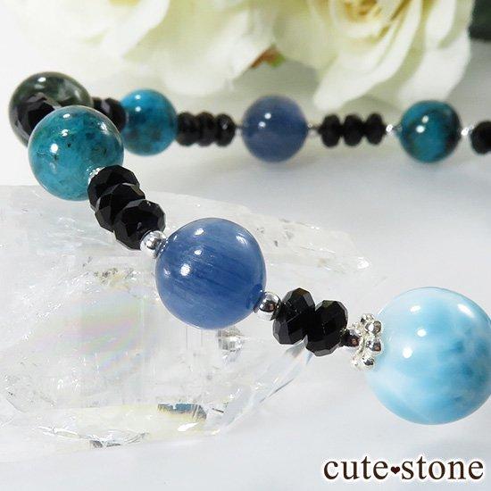 【静かな夜の海】 ラリマー カイヤナイト クリソコラ セラフィナイト ブラックスピネルのブレスレットの写真2 cute stone