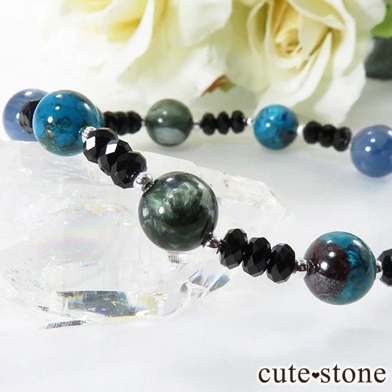 【静かな夜の海】 ラリマー カイヤナイト クリソコラ セラフィナイト ブラックスピネルのブレスレットの写真4 cute stone