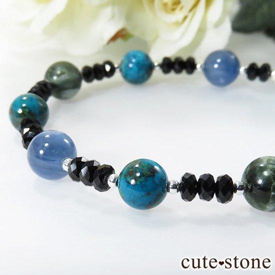 【静かな夜の海】 ラリマー カイヤナイト クリソコラ セラフィナイト ブラックスピネルのブレスレットの写真5 cute stone