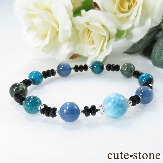 【静かな夜の海】 ラリマー カイヤナイト クリソコラ セラフィナイト ブラックスピネルのブレスレットの写真6 cute stone