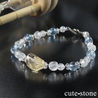 【Alice】オレゴンサンストーン アクアマリン ミルキークォーツ レインボームーンストーン 水晶のブレスレットの画像