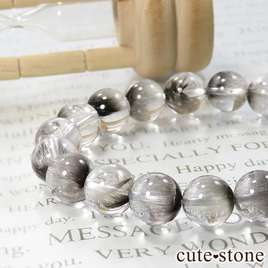 【1/2売り対象】 プラチナクォーツのシンプルブレスレット 10mmの写真4 cute stone