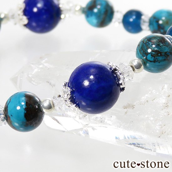 【蒼の世界】 ラピスラズリ クリソコラ アパタイト ブルーレースのブレスレットの写真1 cute stone