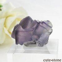 中国 雲南省産 パープル&グレーフローライトの結晶(原石) 9.9gの画像
