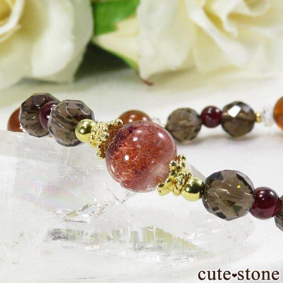 【静炎】 ファイアークォーツ ヘソナイト ガーネット スモーキークォーツのブレスレットの写真1 cute stone