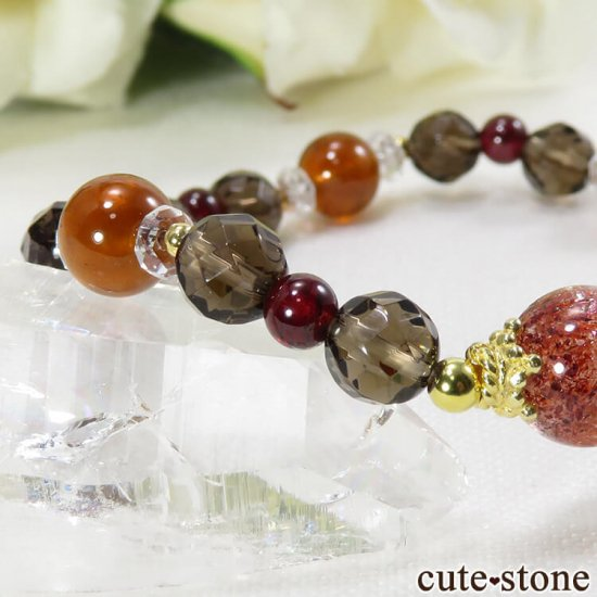 【静炎】 ファイアークォーツ ヘソナイト ガーネット スモーキークォーツのブレスレットの写真2 cute stone