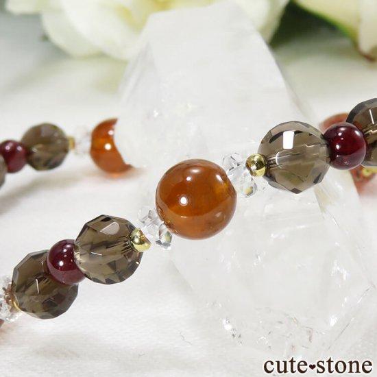 【静炎】 ファイアークォーツ ヘソナイト ガーネット スモーキークォーツのブレスレットの写真3 cute stone
