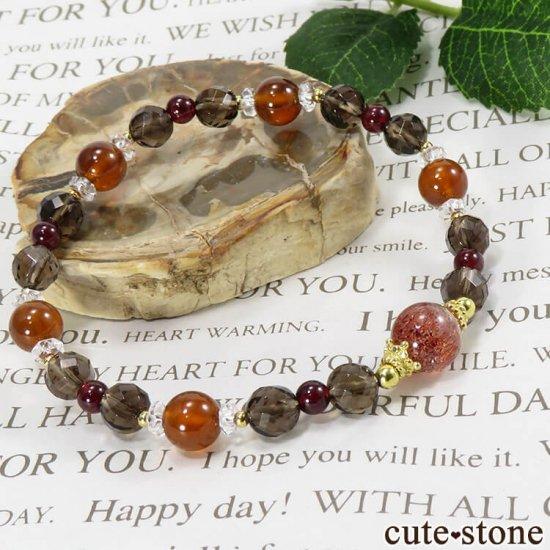【静炎】 ファイアークォーツ ヘソナイト ガーネット スモーキークォーツのブレスレットの写真4 cute stone