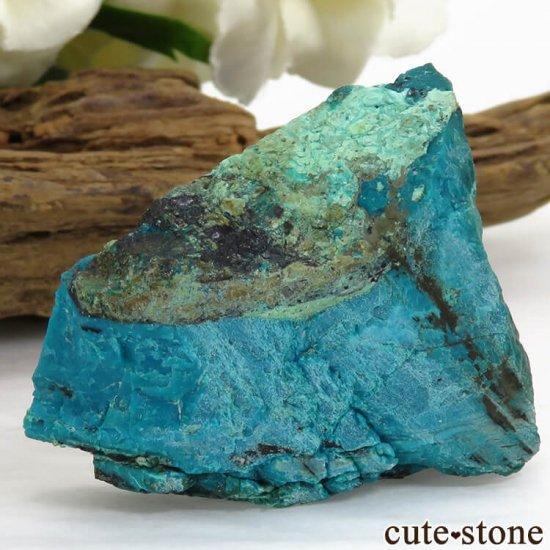 アメリカ Morenci Mine産 クリソコラのスライス(原石)26.4gの写真1 cute stone
