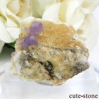 パキスタン スカルドゥ産 パープルアパタイトの母岩付き結晶(原石) 14.4gの画像