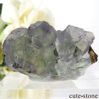 中国 福建省産 グリーン&パープルフローライトの結晶(原石)31.8gの画像