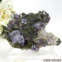 ヤオガンシャン産 パープルフローライト&水晶の母岩付き結晶(原石)31gの画像