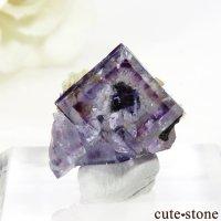 ヤオガンシャン産 パープルフローライトの結晶(原石)2.6gの画像