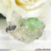 タンザニア産 ツァボライト&ダイオプサイトでの母岩付き結晶(原石) 17.9ctの画像